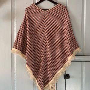 Vintage NYARADE Textured Stripe Fringed Poncho